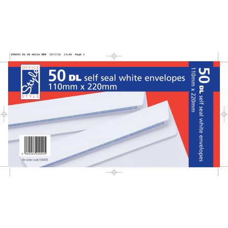 50 White DL Envelopes Self Seal