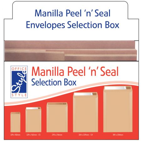 Office Style Manilla Peel n Seal Envelopes Selection Box Assorted Sizes