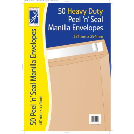 Office Style 50 Peel n Seal Manilla Envelopes 381mm x 254mm