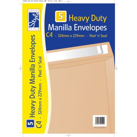 5 Peel n Seal C4 Manilla Envelopes