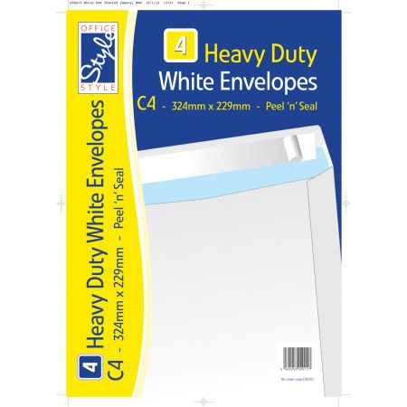 4 Peel n Seal C4 White Envelopes