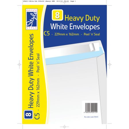 8 Peel n Seal C5 White Envelopes