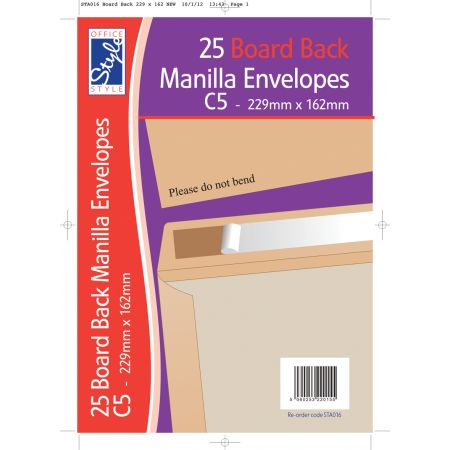 25 Board Back C5 Manilla Envelopes