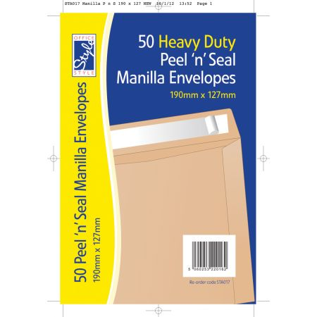 Office Style 50 Peel n Seal Manilla Envelopes 190mm x 127mm