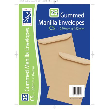 25 Gummed C5 Manilla Envelopes