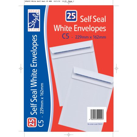 25 Self Seal White C5 Envelopes