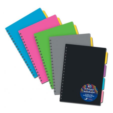A5 Twin Wire Project Notebook Asst