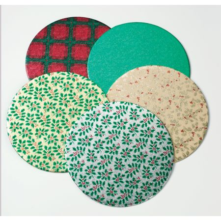 "10"" (254mm) Christmas Double Thick Round Cake Card Assorted Designs"