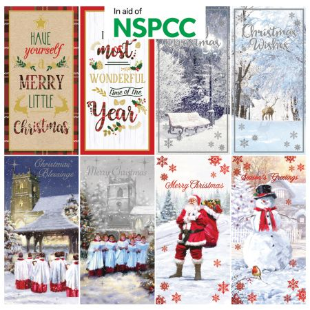 18 NSPCC Charity Cards 2 Designs 85mm x 170mm 8 Assorted Designs CDU