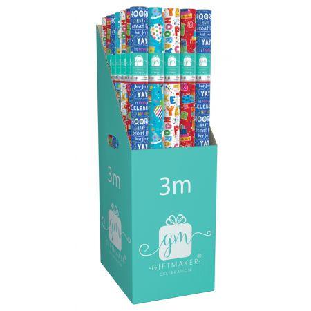 3m Gift Wrap Roll Happy Birthday Assortment CDU