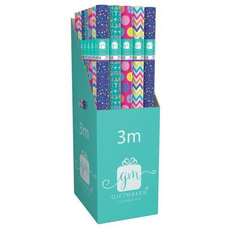 3m Gift Wrap Roll Brights Assortment CDU