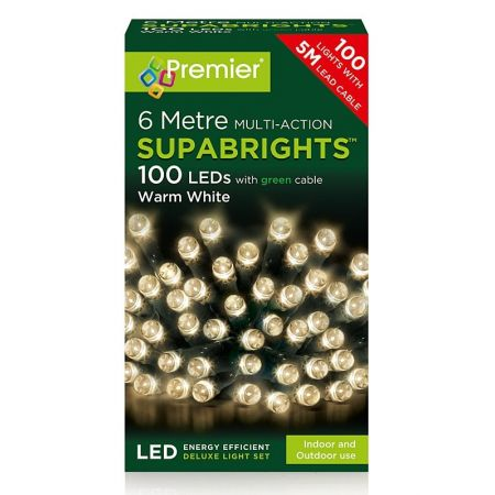 100 Multi Action LED Supabrights Warm White Lights