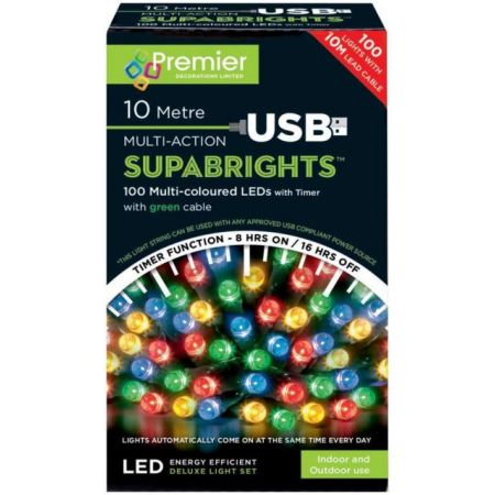 100 Multi Action LED Supabrights Multi Coloured Lights