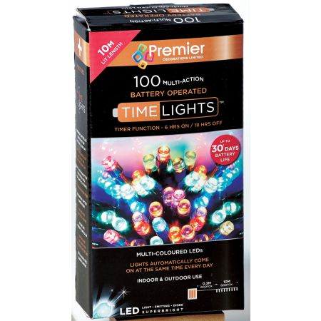 100 Multi Action LED Multi Coloured Lights (B/O)