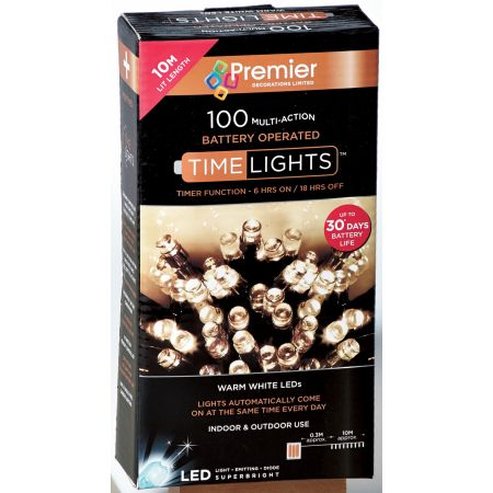 100 Multi Action LED Warm White Lights (B/O)