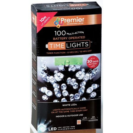 100 Multi Action LED White Lights (B/O)