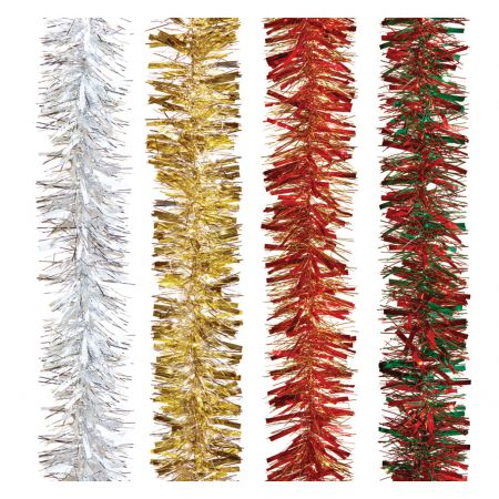 2m x 10cm 2 Colour Chunky Cut Tinsel 4 Assorted Colours