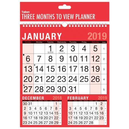 3 Months to View Planner Calendar 3804