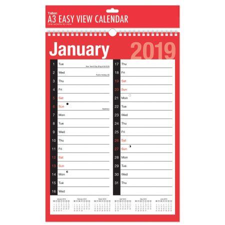 A3 MTV 2 Column Planner Calendar 3806