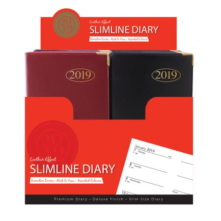 Slim Diary WTV Leather Effect Assorted Colours CDU