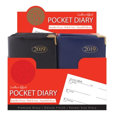 Pocket Diary WTV Leather Effect Assorted Colours CDU