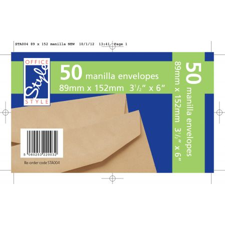Office Style 50 Gummed Manilla Envelopes