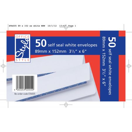 Office Style 50 Self Seal White Envelopes