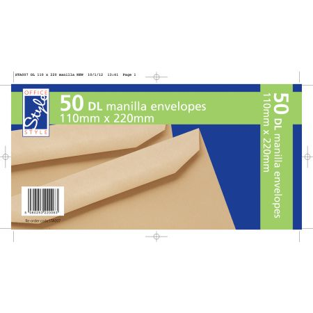 Office Style 50 Gummed DL Manilla Envelopes
