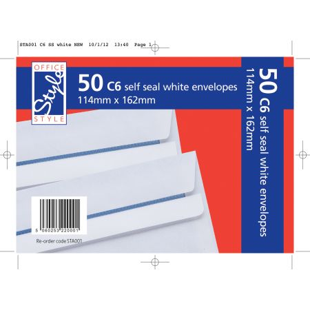 Office Style 50 Self Seal C6 White Envelopes