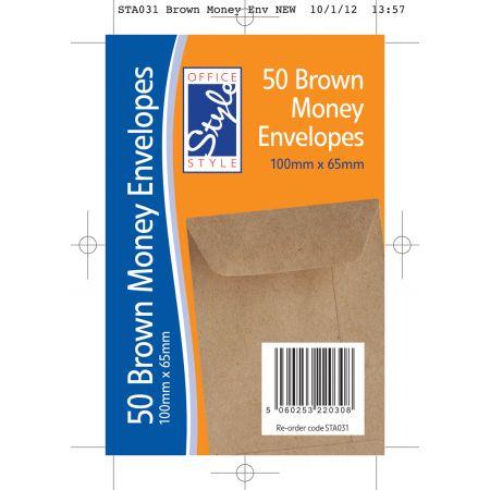 50 Brown Dinner Money Envelopes