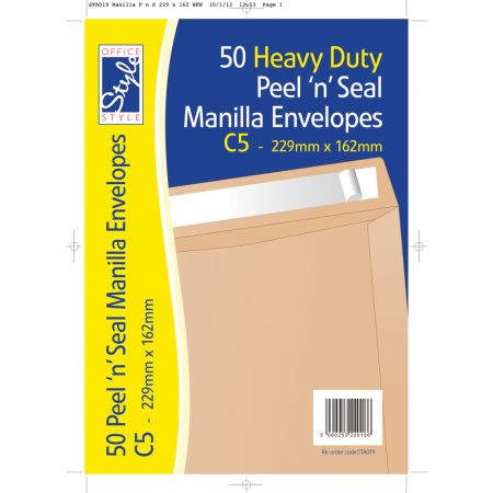 Office Style 50 Peel n Seal C5 Manilla Envelopes