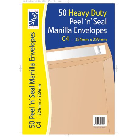 Office Style 50 Peel n Seal C4 Manilla Envelopes 324mm x 229mm