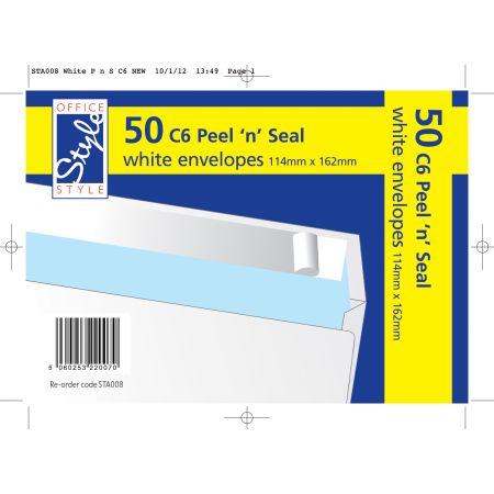 Office Style 50 Peel n Seal C6 White Envelopes