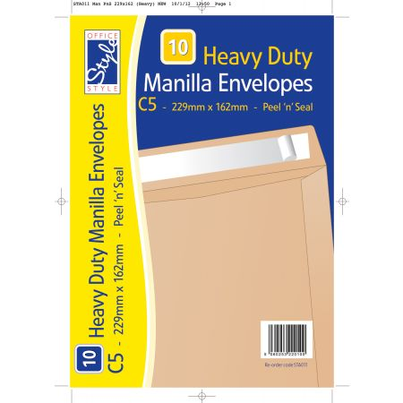 10 Peel n Seal C5 Manilla Envelopes