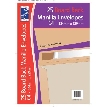 Office Style 25 Board Back C4 Manilla Envelopes