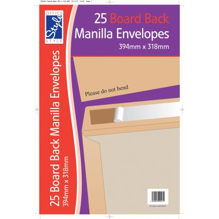 Office Style 25 Board Back Manilla Envelopes