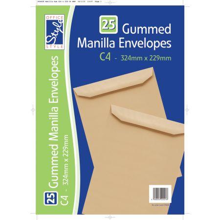 25 Gummed Manilla C4 Envelopes
