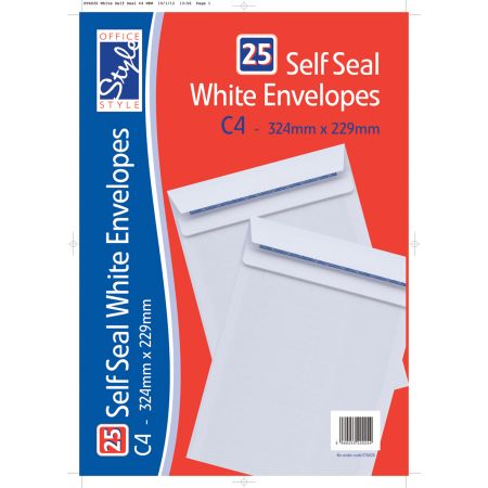 Office Style 25 Self Seal C4 White Envelopes 324mm x 229mm 90gsm