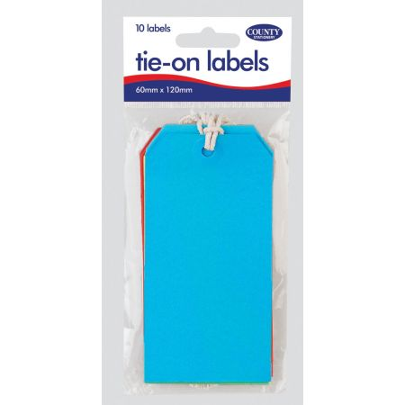 10 Coloured Tie On Labels 60mm x120mm Hang Pack