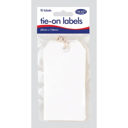 10 White Tie On Labels 60mm x 120mm Hang Pack