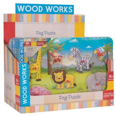 Safari & Farm Wood Peg Puzzle CDU