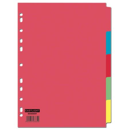5 Part Card Subject Dividers A4