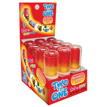 Two To One Pop + Toy Strawberry&Lemon