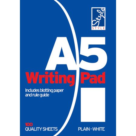 Style A5 Writing Pad White Plain