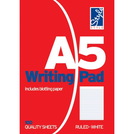 Style A5 Writing Pad White Ruled