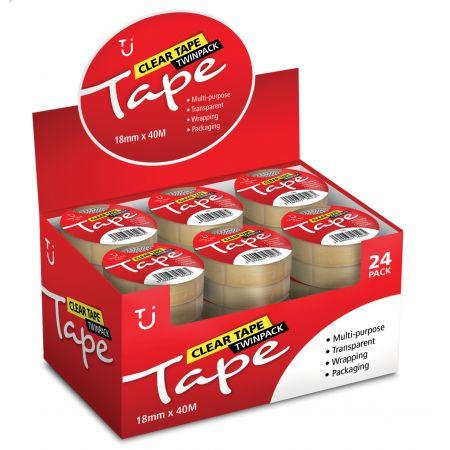 18mm x 40m Value Clear Twin Tape CDU