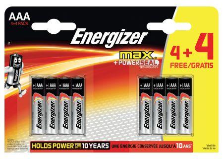 Energizer Max 4 + 4 Free AAA