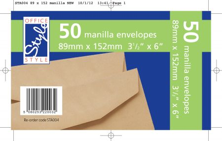 Office Style 50 Gummed Manilla Envelopes 89mm x 152mm 80gsm