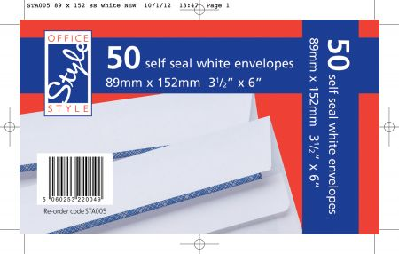Office Style 50 Self Seal White Envelopes 89mm x 152mm 80gsm