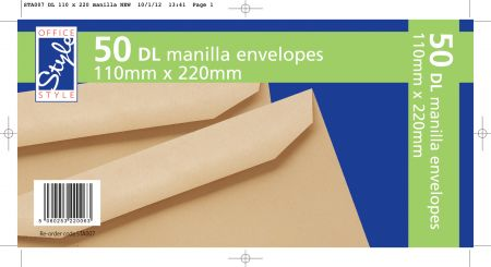 Office Style 50 Gummed DL Manilla Envelopes 110mm x 220mm 80gsm